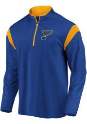 St Louis Blues Mens Blue Defender Mission Long Sleeve 1/4 Zip Pullover