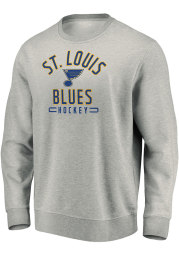 St Louis Blues Mens Grey Team Arc Stack Long Sleeve Crew Sweatshirt
