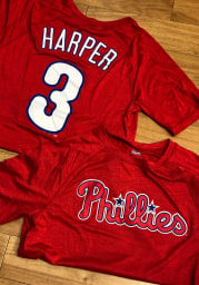 Bryce Harper Philadelphia Phillies Red Name Number Short Sleeve Player T Shirt