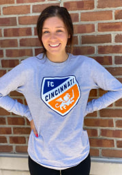 FC Cincinnati Grey Logo Wordmark Long Sleeve T Shirt