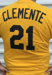 Roberto Clemente Pittsburgh Pirates Gold Name and Number Short Sleeve Player T Shirt
