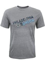 Philadelphia Union Grey Diagonal Name Short Sleeve Fashion T Shirt