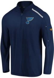 St Louis Blues Mens Navy Blue Authentic Pro Clutch Long Sleeve 1/4 Zip Pullover