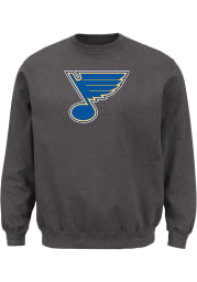 Majestic St Louis Blues Mens Charcoal Tek Patch Long Sleeve Crew Sweatshirt