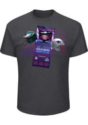 Philadelphia Eagles Charcoal SB LII Advanced Tickets Short Sleeve T Shirt
