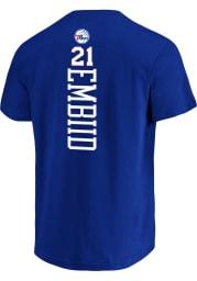 Joel Embiid Philadelphia 76ers Blue Backer Short Sleeve Player T Shirt