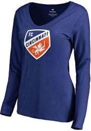FC Cincinnati Womens Blue Primary Logo LS Tee