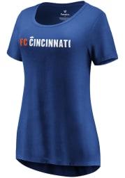 FC Cincinnati Womens Blue Official Wordmark Short Sleeve T-Shirt
