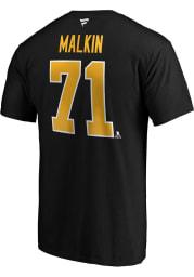 Evgeni Malkin Pittsburgh Penguins Black Authentic Stack Short Sleeve Player T Shirt