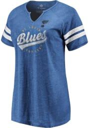 St Louis Blues Womens Blue Off the Boards Notch Short Sleeve T-Shirt