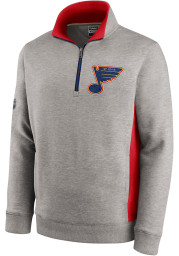 St Louis Blues Mens Grey Archival Throwback Long Sleeve 1/4 Zip Pullover