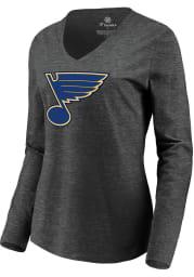 St Louis Blues Womens Grey Primary Logo LS Tee