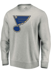 St Louis Blues Mens Grey Team Logo Long Sleeve Crew Sweatshirt