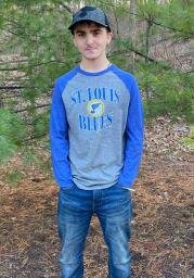 St Louis Blues Grey Distress Team Raglan Long Sleeve Fashion T Shirt