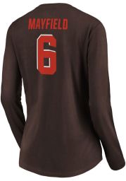 Baker Mayfield Cleveland Browns Womens Brown Authentic Stack Name and Number Long Sleeve Player T Shirt