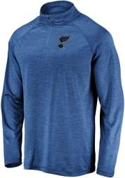 St Louis Blues Mens Blue Striated Raglan Long Sleeve 1/4 Zip Pullover