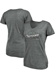 Dallas Stars Womens Grey 2020 NHL Conference Champs Lace Short Sleeve T-Shirt
