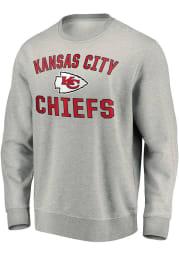 Kansas City Chiefs Mens Grey Varsity Arch Long Sleeve Crew Sweatshirt