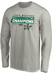 Dallas Stars Grey 2020 NHL Conference Champs Locker Room Long Sleeve T Shirt