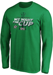 Dallas Stars Kelly Green 2020 Stanley Cup Final Participant We Want the Cup Long Sleeve T Shirt