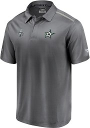 Dallas Stars Mens Grey 2020 Stanley Cup Final Participant Authentic Pro Rinkside Short Sleeve Polo