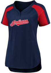 Cleveland Indians Womens Iconic Fashion Baseball Jersey - Navy Blue
