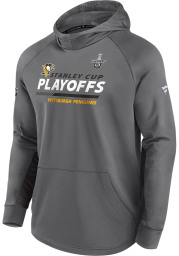 Pittsburgh Penguins Mens Grey Playoff Participant Speed Hood