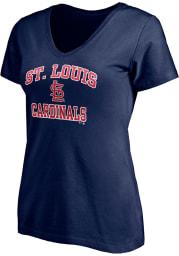 St Louis Cardinals Womens Navy Blue Essential Short Sleeve T-Shirt