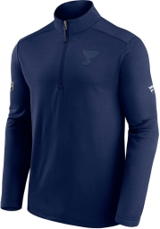 St Louis Blues Mens Navy Blue AP Travel And Training Long Sleeve 1/4 Zip Pullover