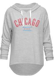 Chicago Women's Grey Flag Long Sleeve Light Weight Hood