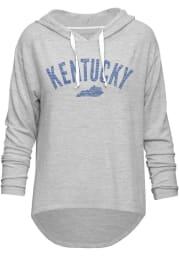 Kentucky Womens Grey Arch State Love Long Sleeve Hood