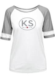 Kansas Womens White Circle Arrow Short Sleeve T Shirt