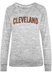 Cleveland Womens Grey Plaid Long Sleeve Crew