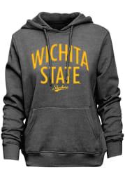 Wichita State Shockers Womens Charcoal Velvet Goodie Hooded Sweatshirt