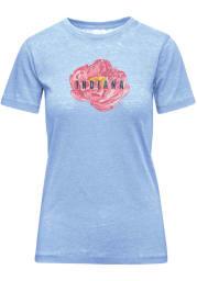 Indiana Womens Light Blue Peony Flower Short Sleeve T-Shirt