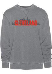 Cleveland Mens Grey Skyline Long Sleeve Crew Sweatshirt