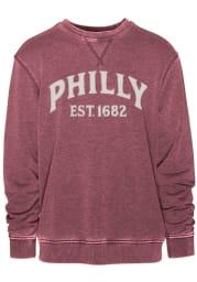 Philadelphia Mens Maroon Arched Long Sleeve Crew Sweatshirt