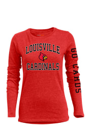 Louisville Cardinals Womens Red BFF Long Sleeve Crew T-Shirt