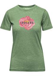 Indiana Womens Green Peony Flower Short Sleeve T-Shirt