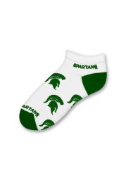 Michigan State Spartans Logo All-Over Womens No Show Socks