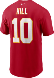 Tyreek Hill Kansas City Chiefs Red Name And Number Short Sleeve Player T Shirt