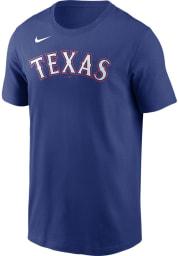 Nike Texas Rangers Blue Wordmark Short Sleeve T Shirt