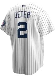 Derek Jeter New York Yankees Mens Replica HOF Patch Jersey - White