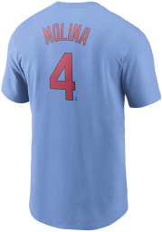 Yadier Molina St Louis Cardinals Light Blue Name And Number Short Sleeve Player T Shirt