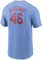 Paul Goldschmidt St Louis Cardinals Light Blue Name And Number Short Sleeve Player T Shirt