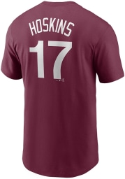 Rhys Hoskins Philadelphia Phillies Maroon Name And Number Short Sleeve Player T Shirt
