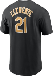 Roberto Clemente Pittsburgh Pirates Black Name And Number Short Sleeve Player T Shirt