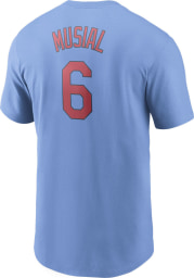 Stan Musial St Louis Cardinals Light Blue Name And Number Short Sleeve Player T Shirt