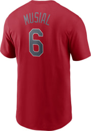 Stan Musial St Louis Cardinals Red Name And Number Short Sleeve Player T Shirt
