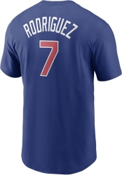 Ivan Rodriguez Texas Rangers Blue Name And Number Short Sleeve Player T Shirt
